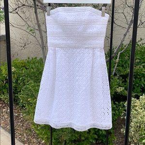 LAUNDRY Shelli Segal Strapless White Eyelet Dress